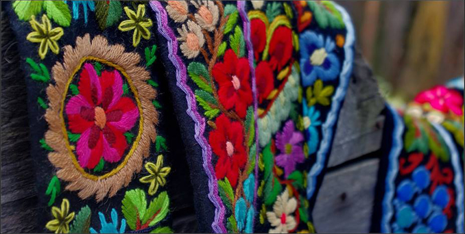 Textile stitching and weaving, handmade in Romania