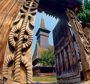 Carved gate in Maramures, Northern Romania