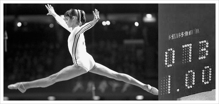 Nadia Comaneci - Romanian Gymnast - Perfect Score 10 at Olympic Games in Montreal, 1976