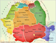 Romania - Regions Map - Moldova and Bucovina